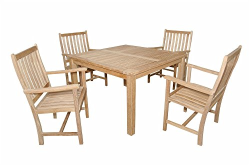 "Anderson Teak Wilshire Armchair & Windsor 47"" Square Table Small Slats Set, Dimone Sequoia"