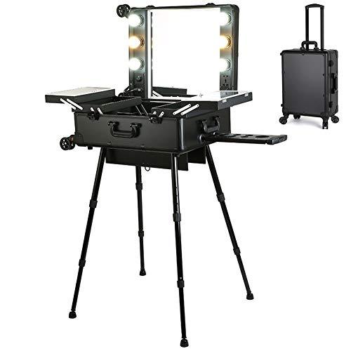 Valigetta Professionale Porta Trucchi,con Specchio e Lampadine LED, Organizer da Viaggio con Vassoi Allungabili, Ideale Come Regalo di Natale