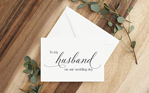 To my husband on our wedding day card, Card for groom on wedding day, Card for groom from bride, Future husband card, Wedding cards, Cards measure 5.5x4, Choose your envelope color.