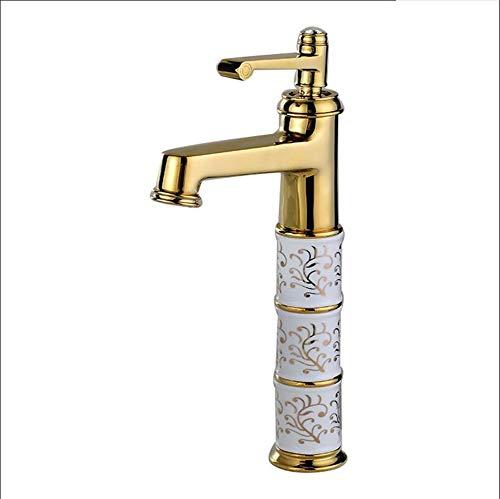 Poi Badezimmer-Hahn-Gold Antique Basin Art Basin Hahn Aufstockung Waschbecken Wasserhahn Mischwasserhahn Antique Brushed Küche Kupfer-Wannen-Hahn Zweigriffarmatur (Color : A, Size : 33cm)