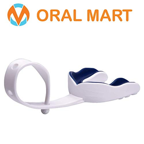 Oral Mart White/Navy Blue Sports Mouth Guard with Strap (Ice Hockey/Football/Lacrosse) - Strapped Mouthguard for Football, Hockey, Lacrosse, College Football (with Free Case)