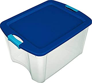 Sterilite 72 Qt./18 Gal. Latching Storage Bin with Clear Base - True Blue