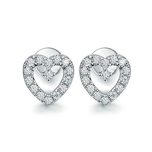 Bishilin Pendientes de Botón Para Mujer En Oro Blanco 18K, Corazón Hueco Con Diamante de 0,28 ct Aretes Elegante Pendientes de Botón Para Mujer Elegante Regalos Para Cumpleaños Navidad
