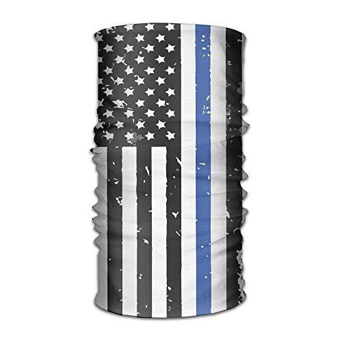 dingjiakemao Unisex Stylish Police Thin Blue Line Flag USA Quick Dry Microfiber Headwear Outdoor Magic Bandana As Neck Gaiter Head Wrap Headband Scarf Face Mask Ultra Soft Elastic One Size
