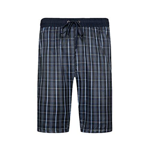 Kaiyei Pantalones Cortos de Playa Hombre Secado Rápido Tamaño Europeo Short de Baño con Cintura Elástica Forro Malla Casual Loose Vacaciones Viajar Surf Cuadrícula Medio Azul 2XL