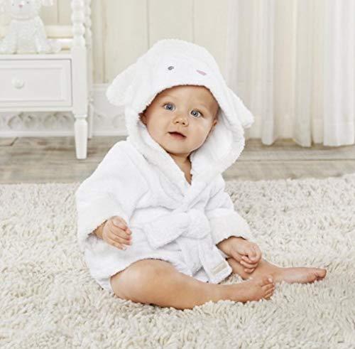 JDSKM 37 letreros Capucha Modificación Animal Albornoz para bebé/Remolque de SPA para bebé de Dibujos Animados/Bata de baño para niños con Personajes/Remolques de Playa para bebés, Oveja Blanca