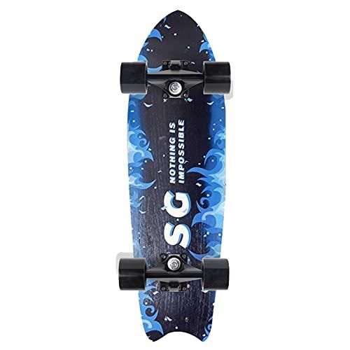 CUTEY Skateboard De 28 Pulgadas, Tabla De Surf De Surf Professional, City Street Land Cruiser Skateboard Completo, Regalos para Adultos, Niños, Surfistas,No. 1