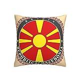 Kissenbezug mit Mazedonien-Flagge, quadratisch, dekorativer Kissenbezug für Sofa, Couch, Zuhause, Schlafzimmer, drinnen & draußen, niedlicher Kissenbezug 45,7 x 45,7 cm