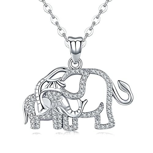 Collar de elefante para mujer, plata de ley S925, doble elefante, colgante de animales, para mujeres, madre e hija, joyas para regalo para el Día de la Madre