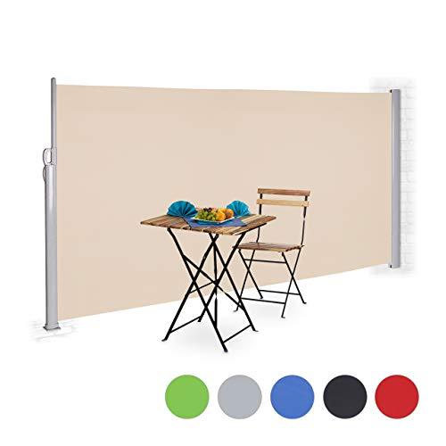 Relaxdays Seitenmarkise ausziehbar, Sichtschutz für Balkon & Garten, UV-beständig, zum Stellen, HxB: 180 x 300 cm, beige