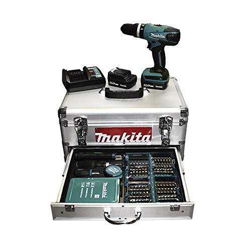 Makita HP347DWEX1 Taladro Percutor A Bateria 14.4V Litio-Ion 1,3 Ah Maletin Aluminio+Accesorios, 110 W, 14.4 V, Azul, 0