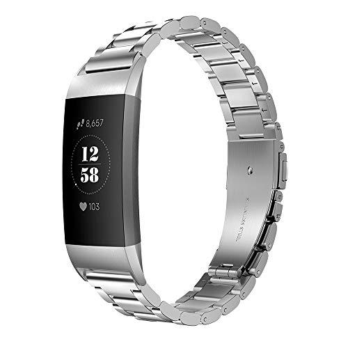 Simpeak Armband Kompatibel mit Fitbit Charge 3/4 Silber (5,5-8,1 Zoll), Edelstahl Uhrenarmband Ersatz Armbänder mit Metallschließe Kompatibel für Fitbit Charge 3 SE