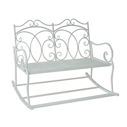 Outsunny Patio 2 Seater Rocking Bench Steel Garden Outdoor Garden Loveseat Chair w/Decorative Backrest White
