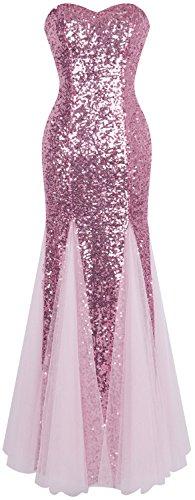 Angel-fashions Damen Ärmellos Blau Sequins Tüll Meerjungfrau Abendkleid (S, Rosa)