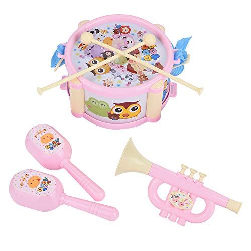 6 PCS Toddler Instruments de Musique Ensemble, Intéressant Tambour Sable Marteau Trompette Jouets Musicaux pour Bébés Garçons Filles Enfants(Rose)
