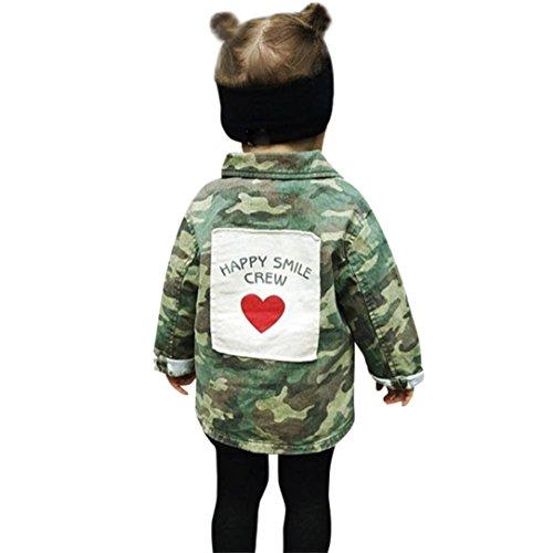 Babykleidung,Sannysis Baby Mädchen Junge Camouflage Letter Denim Mantel Umhangjacke Dicke Kleidung 2-6Jahre (100, Tarnung)