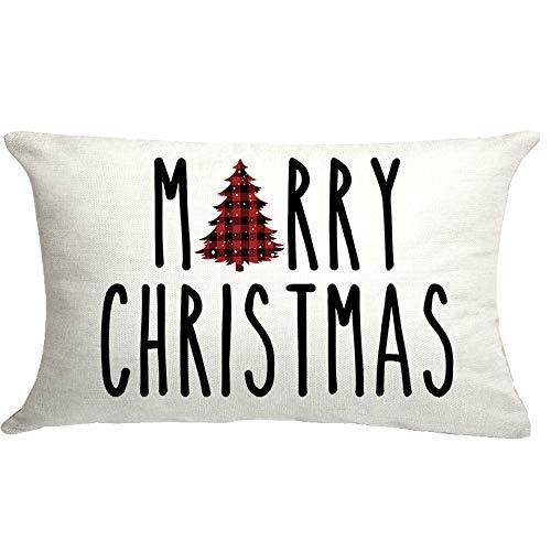 GTEXT Merry Christmas Throw Pillow Cover Christmas Buffalo Check Tree Pillow Cover Farmhouse Christmas Cuhion Cover Farmhouse Xmas Decor 20x12 inch Outdoor Pillow Cushion,Sofa
