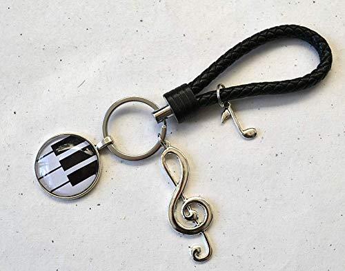 Schlüsselanhänger Klavier Klaviatur und Notenschlüssel Anhänger