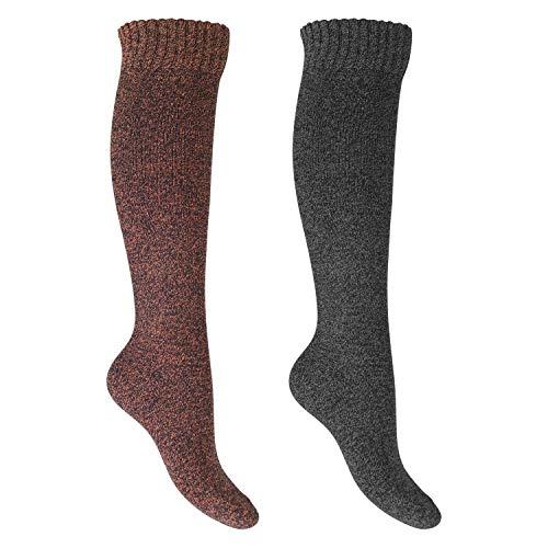Footstar Damen Frottee Kniestrümpfe (2 Paar), warme Baumwollsocken mit Thermo-Effekt - Orange-Grau 35-38