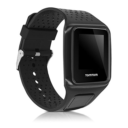 kwmobile Pulsera Compatible con Tomtom Runner 1 / Multi-Sport - Brazalete de Silicona en Negro sin Fitness Tracker