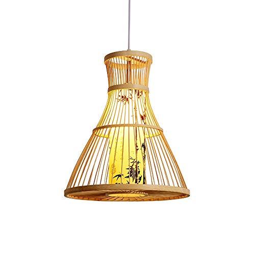 EASTYY Sureste Asian Style Bamboo Colgante Lámparas Papel Papel Pantalla Lámpara de Ratán Chandelier E27 Cabeza Single Head Energy Ahorro Decoración Esperada Adecuada para Restaurantes, Hoteles, Equip