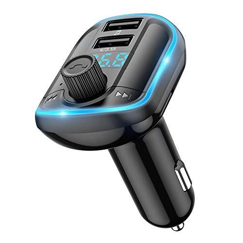 Wodgreat FM Transmitter Auto Bluetooth 5.0 Radio Adapter Blaue Umgebende Leuchte mit Freisprecheinrichtung Kfz-Empfänger Adapter Dual USB Ladegerät Unterstützt SD-Karte, USB-Disk (Schwarz)