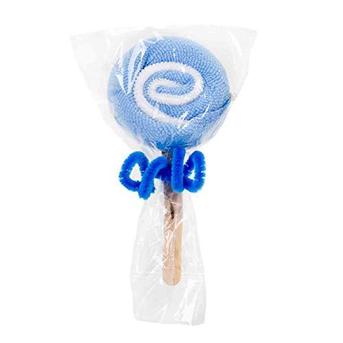 Lote de 15 Divertidas Toallas con Forma de Piruleta Azul. Higiene y Belleza. Recuerdos y Complementos. Regalos Originales.Detalles de Bodas, Comuniones, Bautizos, Cumpleaños. CC.