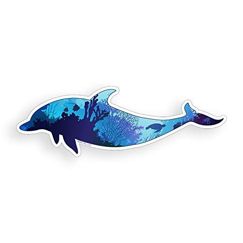 Dolphin Sticker Underwater Ocean Scene for Cup Cooler Laptop Phone Custom Printed Die Cut Decal