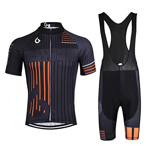 Gwell, set da ciclismo da uomo, maglia a maniche lunghe + pantaloni da ciclismo con imbottitura, abbigliamento da ciclismo MTB, tuta sportiva in pile, a scelta arancione (set con bretelle nere). XXL
