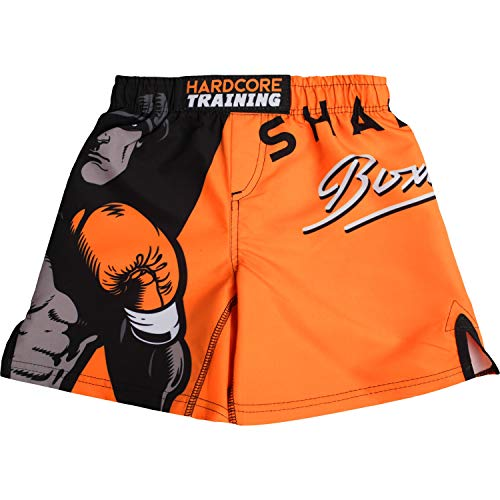 Hardcore Training Shadow Boxing Black/Orange Kids Boxing Shorts Kurze Hose Kinder Boxen Fitness Kampfsport Muay Thai