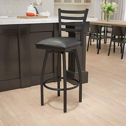 Flash Furniture HERCULES Series Black Ladder Back Swivel Metal Barstool - Black Vinyl Seat