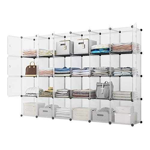 mDesign Soft Fabric Closet Storage Organizer Cube with Front View Window Bin, Storage for Baby, Kids Room, Nursery, Toy Room, Furniture Units, 6 Pack - Gray/Black
