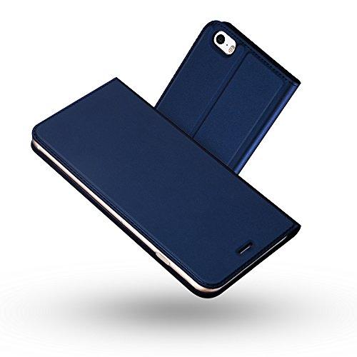 Radoo Coque iPhone 5,Coque iPhone 5S,Coque iPhone Se, Ultra Mince en Cuir PU Premium Housse à Rabat Portefeuille Coque Étui de Protection Bumper Folio à Clapet pour iPhone 5/5S/SE 4 Pouces (Bleu)