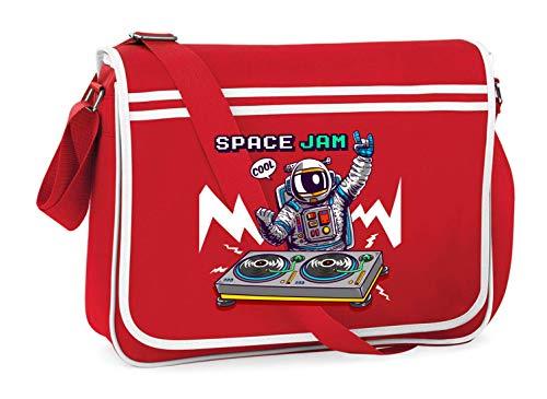 Druckerlebnis24 - Bolso bandolera para el hombro - Astronauta mesa de mezclas Dj espacio espacial, adecuado para escuela, universidad, portátil