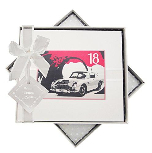 White Cotton Cards Carte d'anniversaire 18 Ans, Livre, Voiture Classique, Blanc