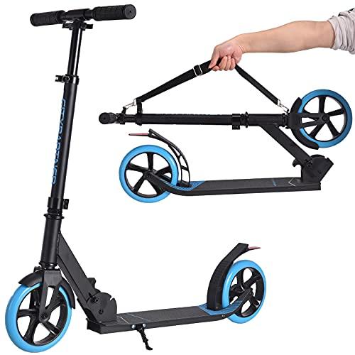 City Roller Scooter Klappbar & Höhenverstellbar Roller für Erwachsene, Big Wheel Scooter Cityroller mit Doppelfederung und Tragegurt, Tretroller für Kinder ab 12 Jahre bis 100kg (Blau)
