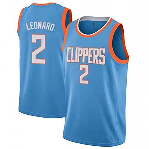 NBA Hombre Jersey,Clippers n#2 Leonard Ropa de Baloncesto,Camisetas Al Aire Libre Casual Mujer Redondo CháNdales,Blue,M
