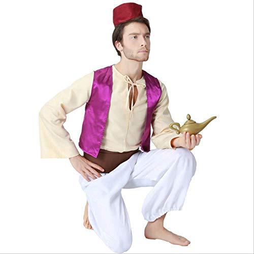WSJDE - Lmpara de aladino para adultos, disfraz de prncipe Aladdin, disfraz de Halloween anime cosplay Adam prncipe trajes XL prpura profundo