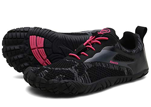 Voovix Herren Damen Barfußschuhe Fitnessschuhe Laufschuhe Minimalistische Traillaufschuhe Trekkingschuhe Wanderschuhe Outdoor Sneaker im Sommer black/red43