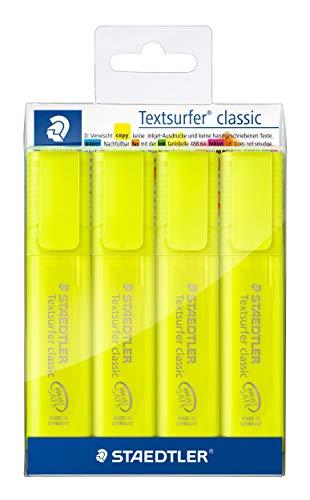 STAEDTLER Textsurfer Classic - Estuche con 4 marcadores fluorescentes de color amarillo (364-1P WP4ST)