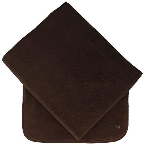 LOEVENICH Weicher Damen Schal   Halstuch aus super warmen POLAR SOFT Fleece – 24 x 180 cm - mit Fransen - uni einfarbig in verschiedenen Farben (One size, Braun)