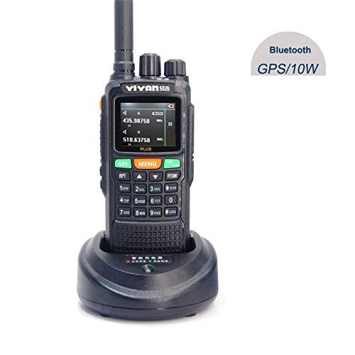 YIYAN Walkie Talkie Amateurfunk Transceiver YI-889 GPS Bluetooth 10W DualBand VHF UHF 2m 70cm Wasserdicht IP55 PMR 446 Hand Funkgerät mit Headset und USB Programmierkabel (YI-889 Plus)