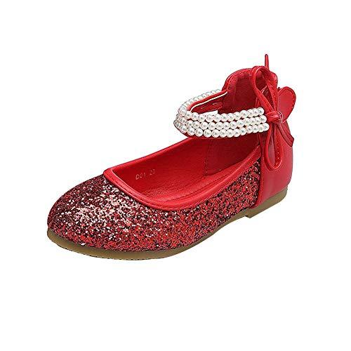 GUOCU Mädchen Prinzessin Schuhe Glitzer Paillette Ballerina Mit Perlen Riemchen Klettverschluss Festliche Mary Jane Halbschuhe Rot 28 EU