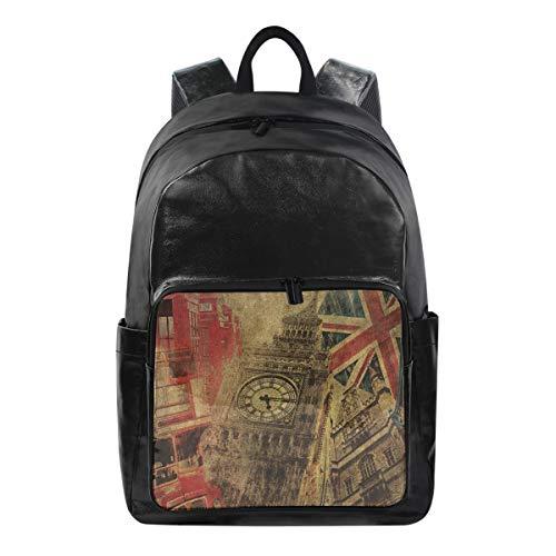 Women/Men Bookbag Vintage Big Ben Union Jack Red Telephone House Casual Canvas Backpack School Rucksack for S