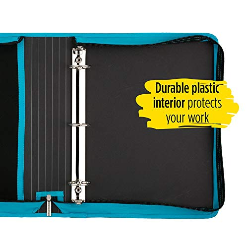 Five Star Zipper Binder, 1-1/2 Inch 3 Ring Binder, Internal Pocket for Storing Paper & Supplies, Durable, Teal (72358) Photo #2