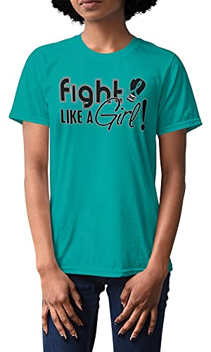 Fight Like a Girl Signature Ovarian Cancer, Cervical Cancer, Anxiety Awareness Unisex T-Shirt - Teal [M]