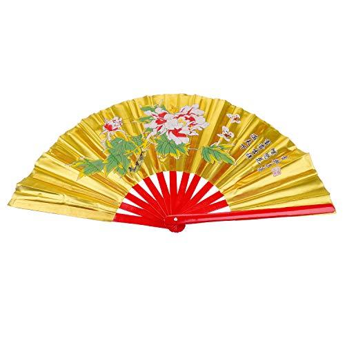 """Aship Peony Patterns Martial Arts Fan - Tai Chi Kung Fu Fan/Karate Fans/Bamboo Fans Martial Arts Fighting Fans/Chinese Kung Fu Fighting Fans/Wushu Fan for Performance Dance - Gold 13.39"""""""
