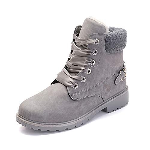 Botas Nieve Mujer Otoño Invierno Calentar Piel Forro Botines Retro Snow Boots Cordones Zapatillas Planas Gris 40