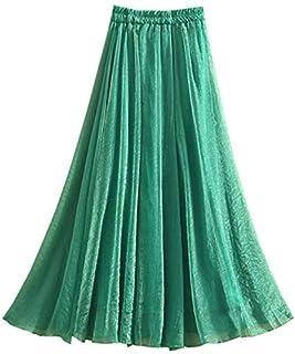 Elonglin Women's Chiffon Maxi Long Skirts Floral Print Beach Skirt Pleated