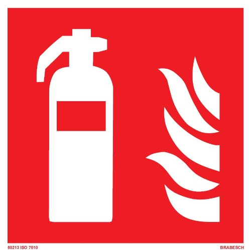 BRABESCH Aufkleber Brandschutzzeichen Feuerlöscher 150x150 ISO 7010 Folie